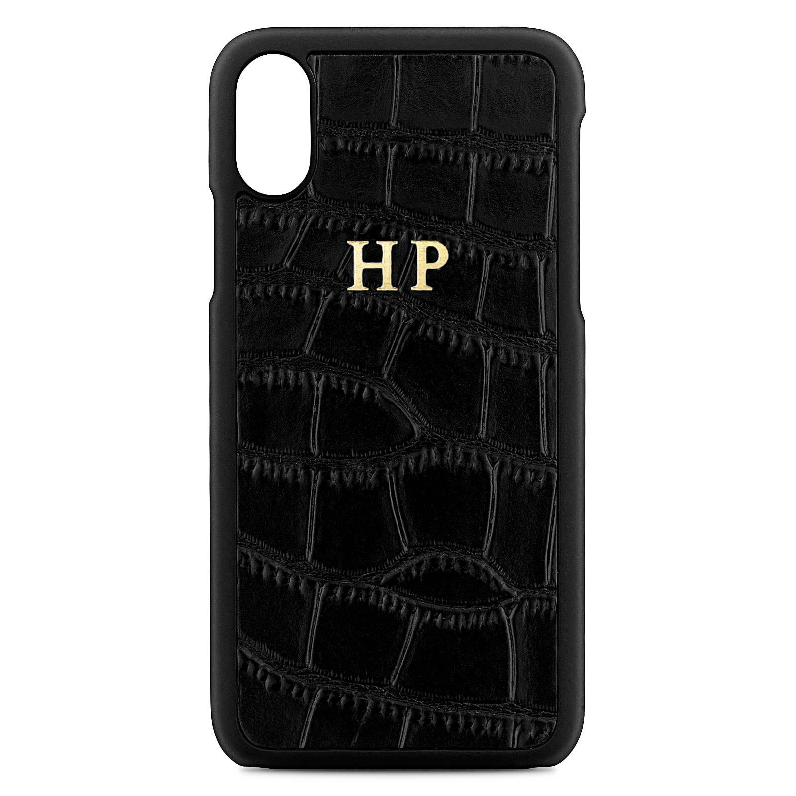Personalised Black Croc Leather iPhone X Case