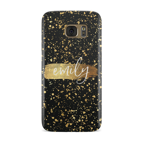 Personalised Black & Gold Ink Splat Name Samsung Galaxy Case