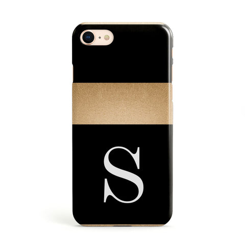 Personalised Black & Gold Monogram Initial Apple iPhone Case