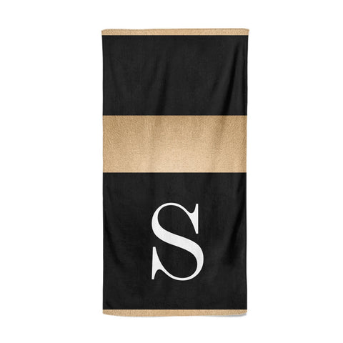 Personalised Black & Gold Monogram Initial Beach Towel