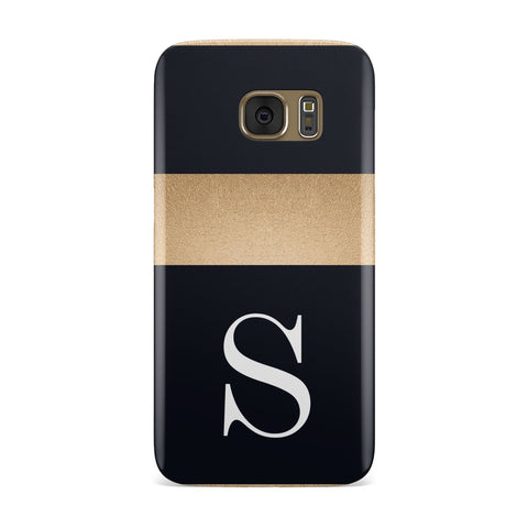 Personalised Black & Gold Monogram Initial Samsung Galaxy Case