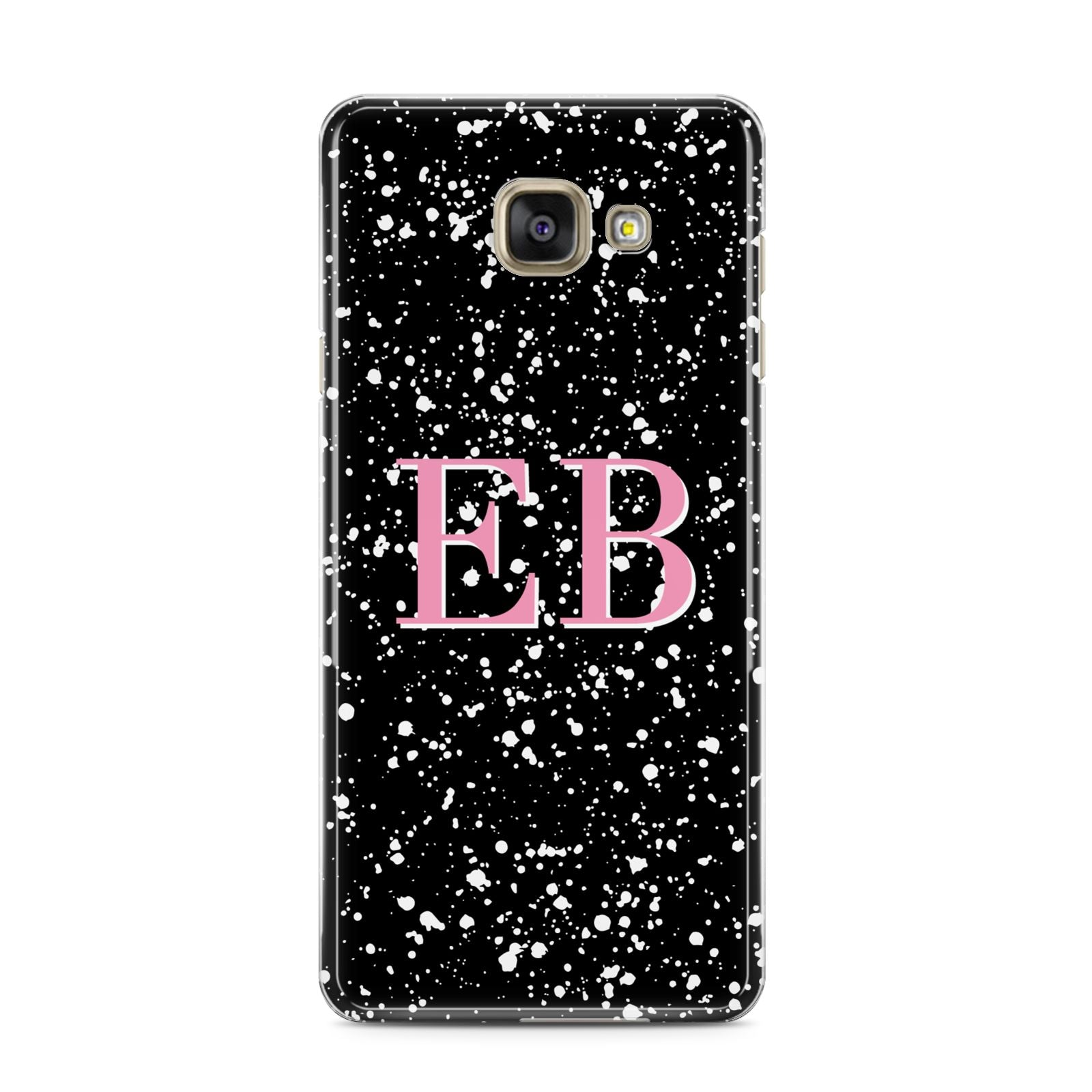Personalised Black Ink Splat Initials Samsung Galaxy A3 2016 Case on gold phone