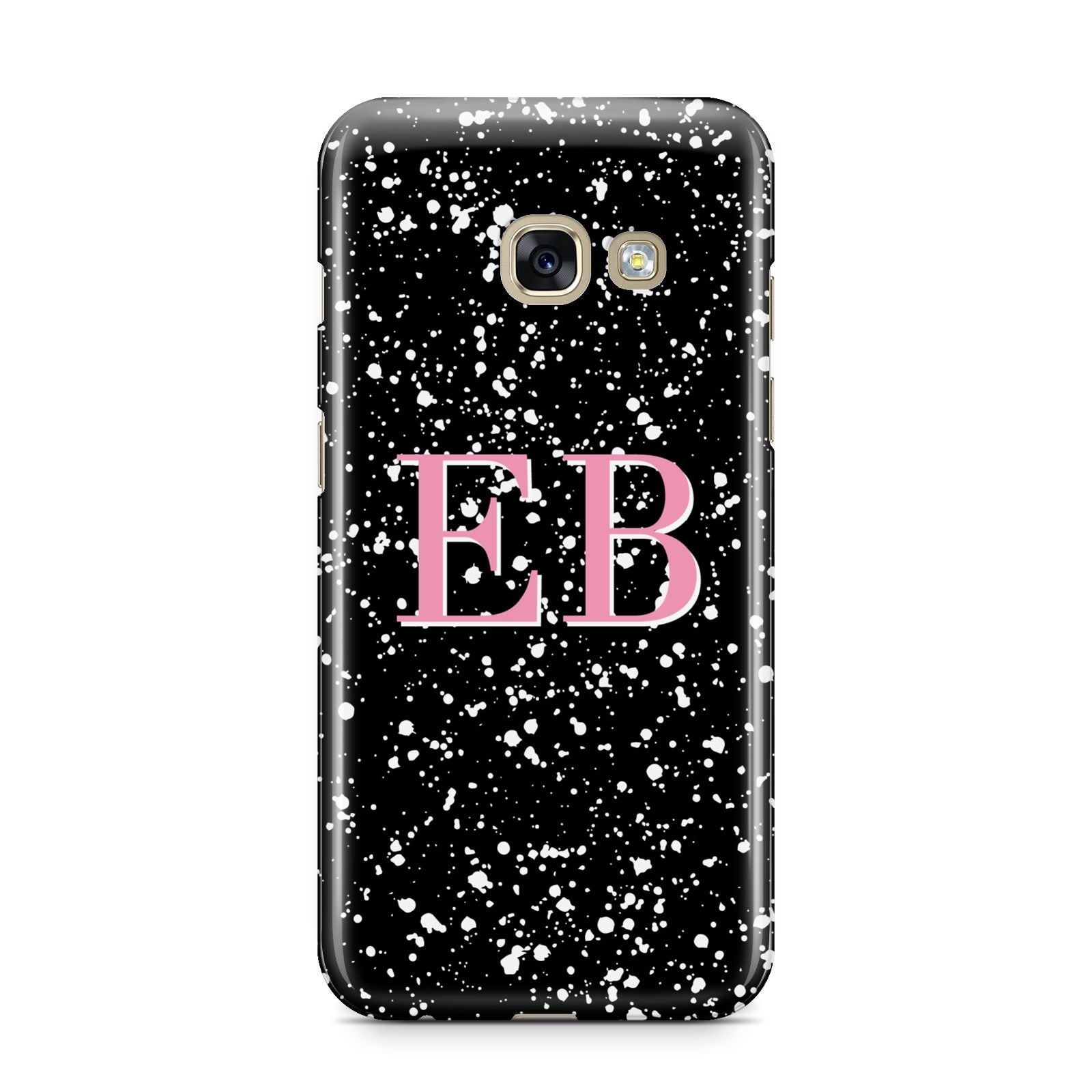 Personalised Black Ink Splat Initials Samsung Galaxy A3 2017 Case on gold phone