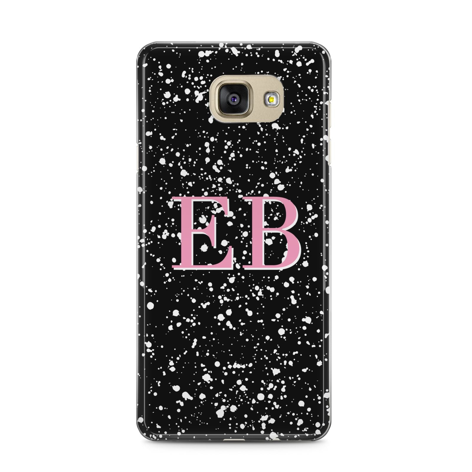 Personalised Black Ink Splat Initials Samsung Galaxy A5 2016 Case on gold phone