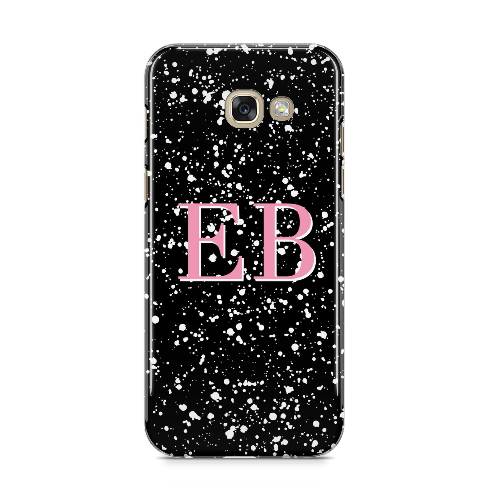 Personalised Black Ink Splat Initials Samsung Galaxy A5 2017 Case on gold phone