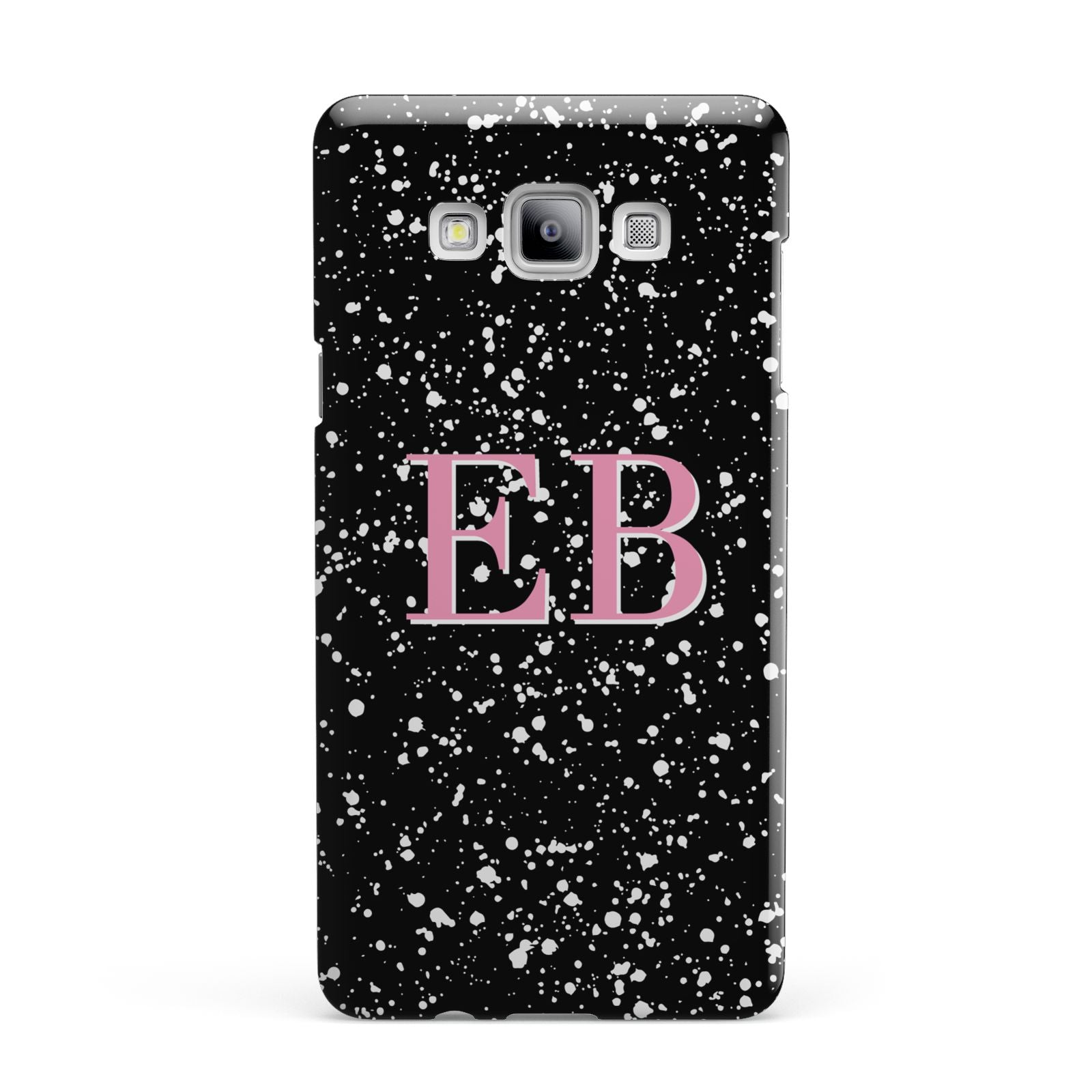 Personalised Black Ink Splat Initials Samsung Galaxy A7 2015 Case