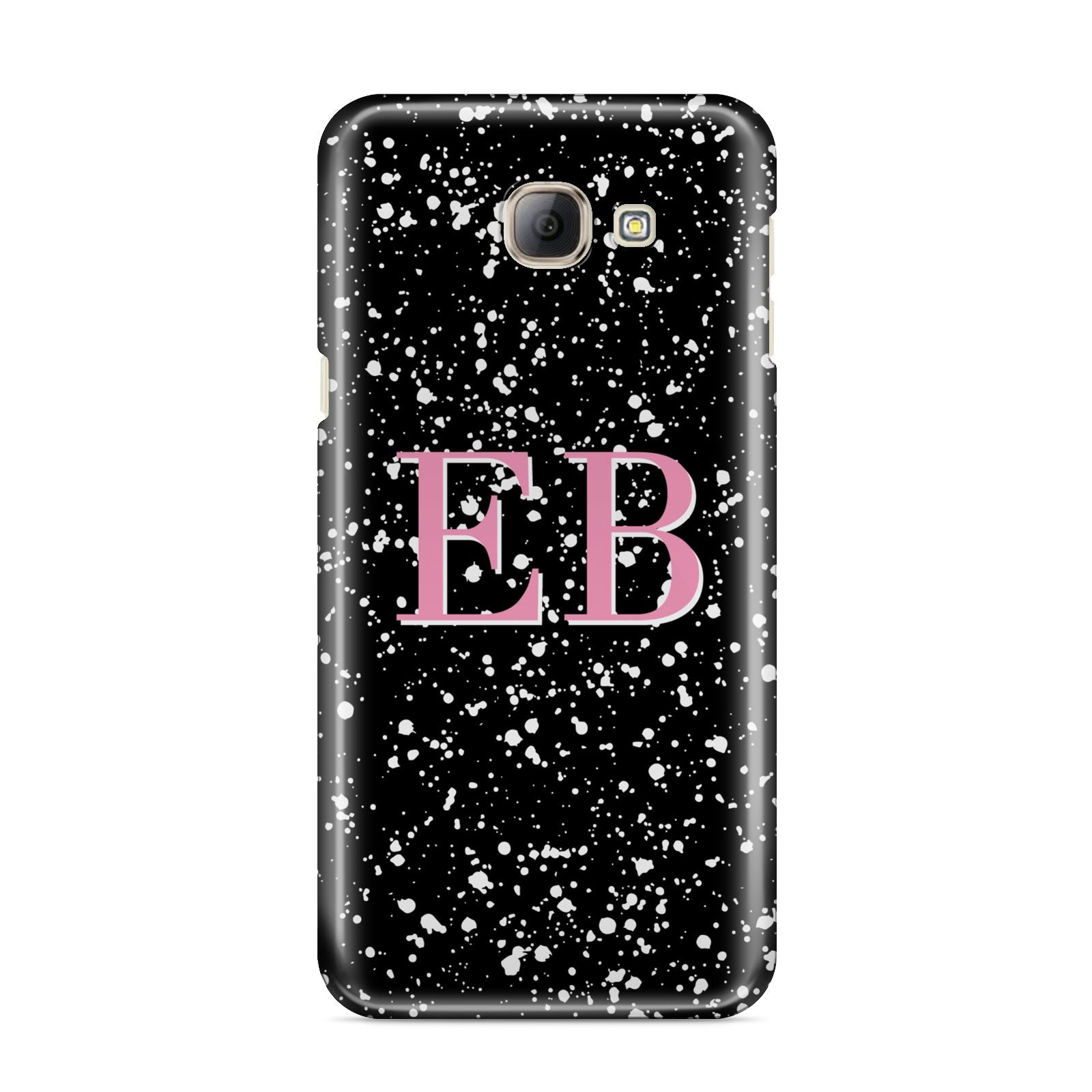 Personalised Black Ink Splat Initials Samsung Galaxy A8 2016 Case