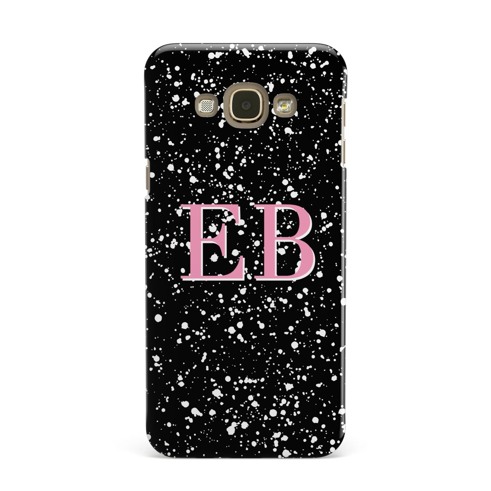 Personalised Black Ink Splat Initials Samsung Galaxy A8 Case