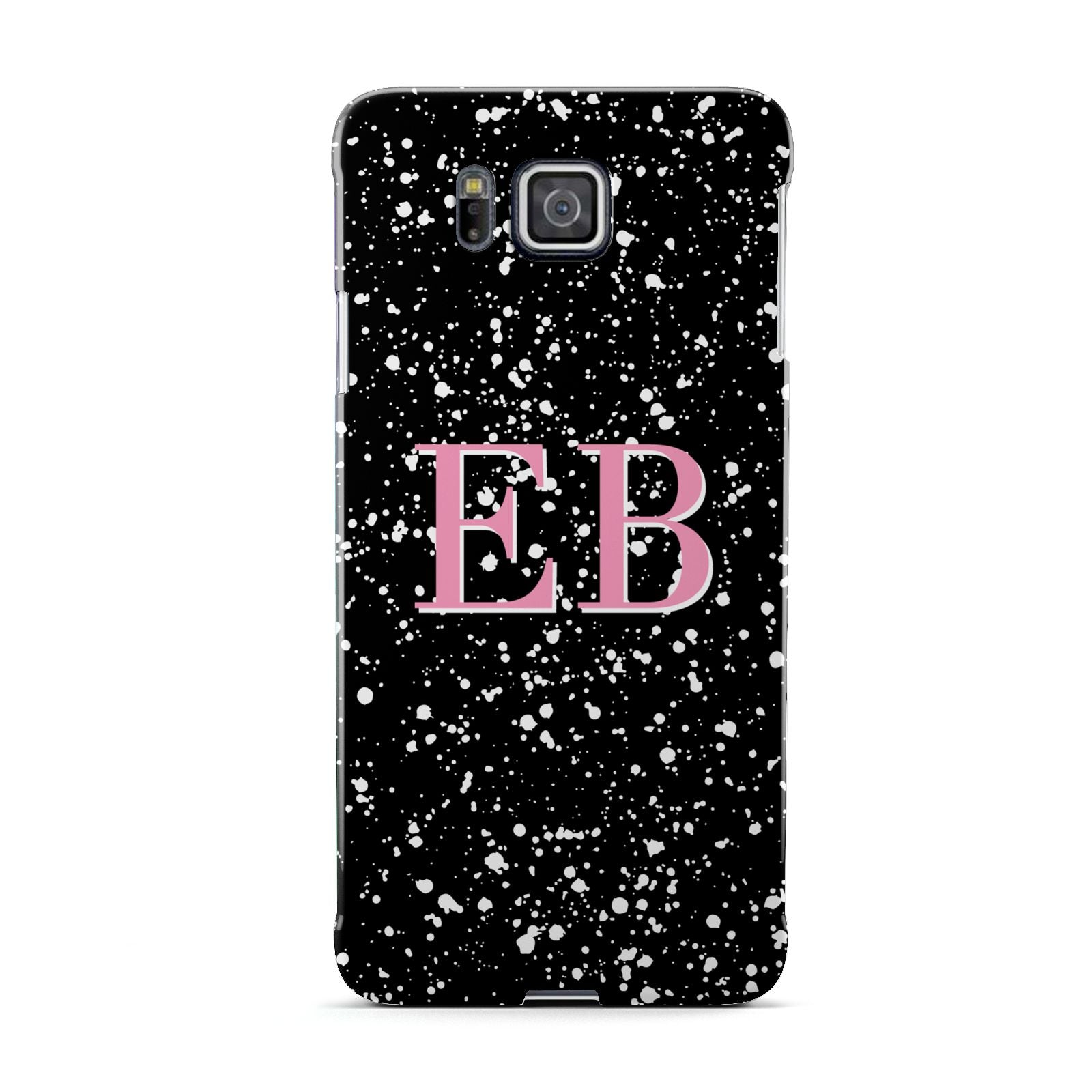 Personalised Black Ink Splat Initials Samsung Galaxy Alpha Case