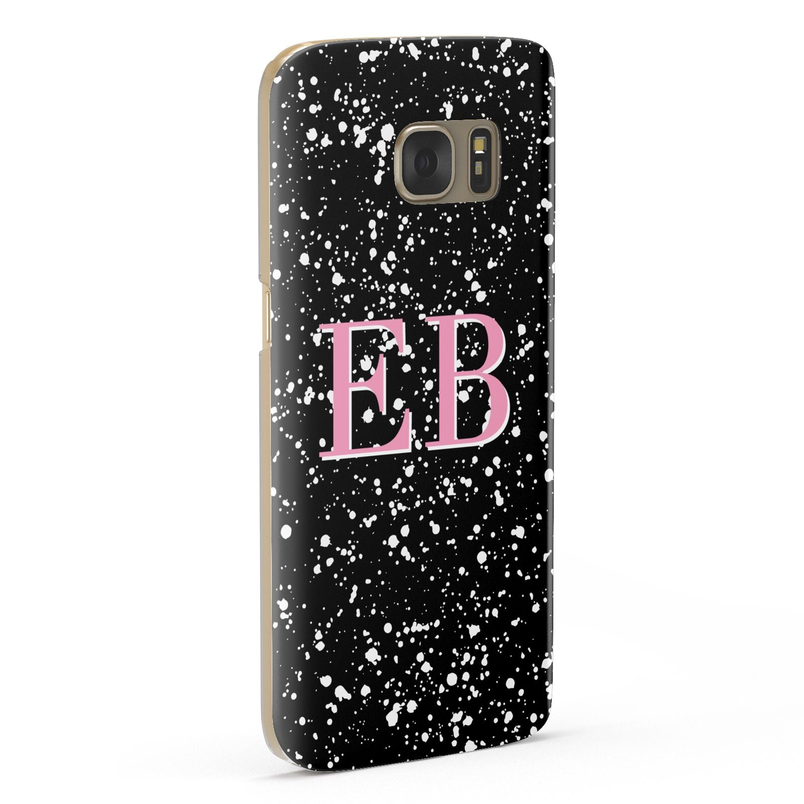 Personalised Black Ink Splat Initials Samsung Galaxy Case Fourty Five Degrees