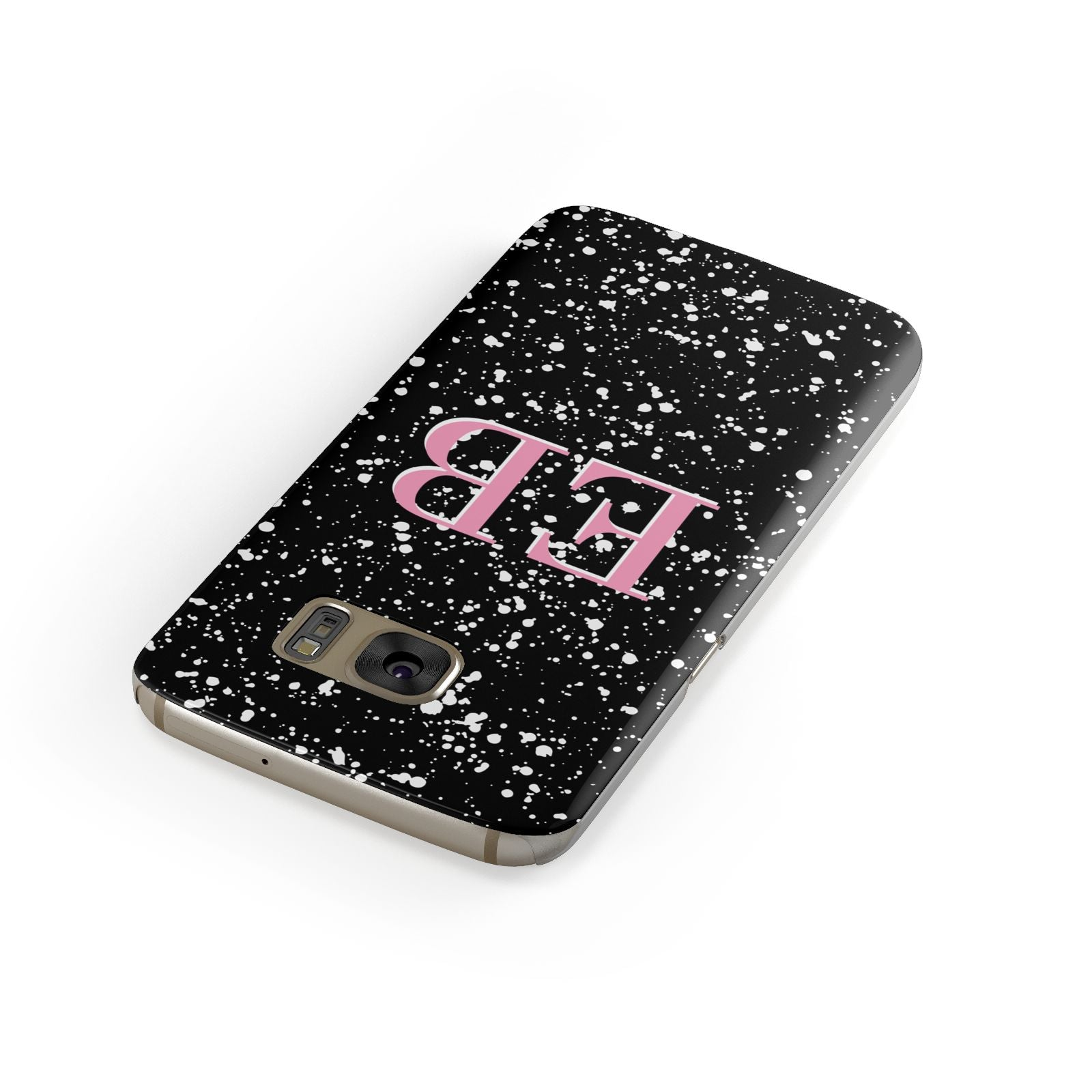 Personalised Black Ink Splat Initials Samsung Galaxy Case Front Close Up