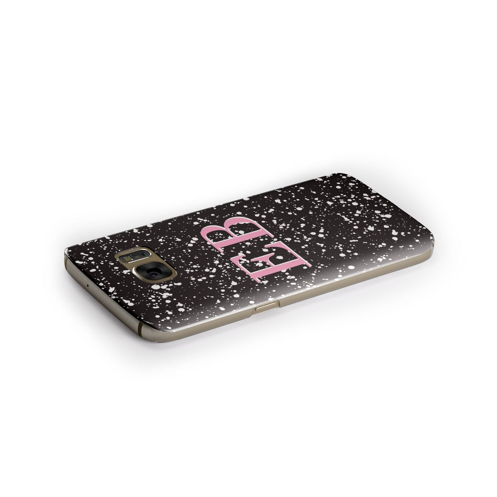 Personalised Black Ink Splat Initials Samsung Galaxy Case Side Close Up