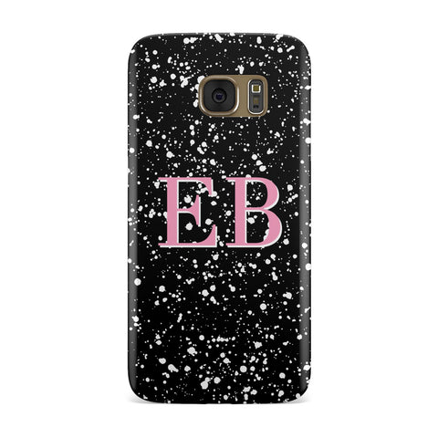 Personalised Black Ink Splat & Initials Samsung Galaxy Case