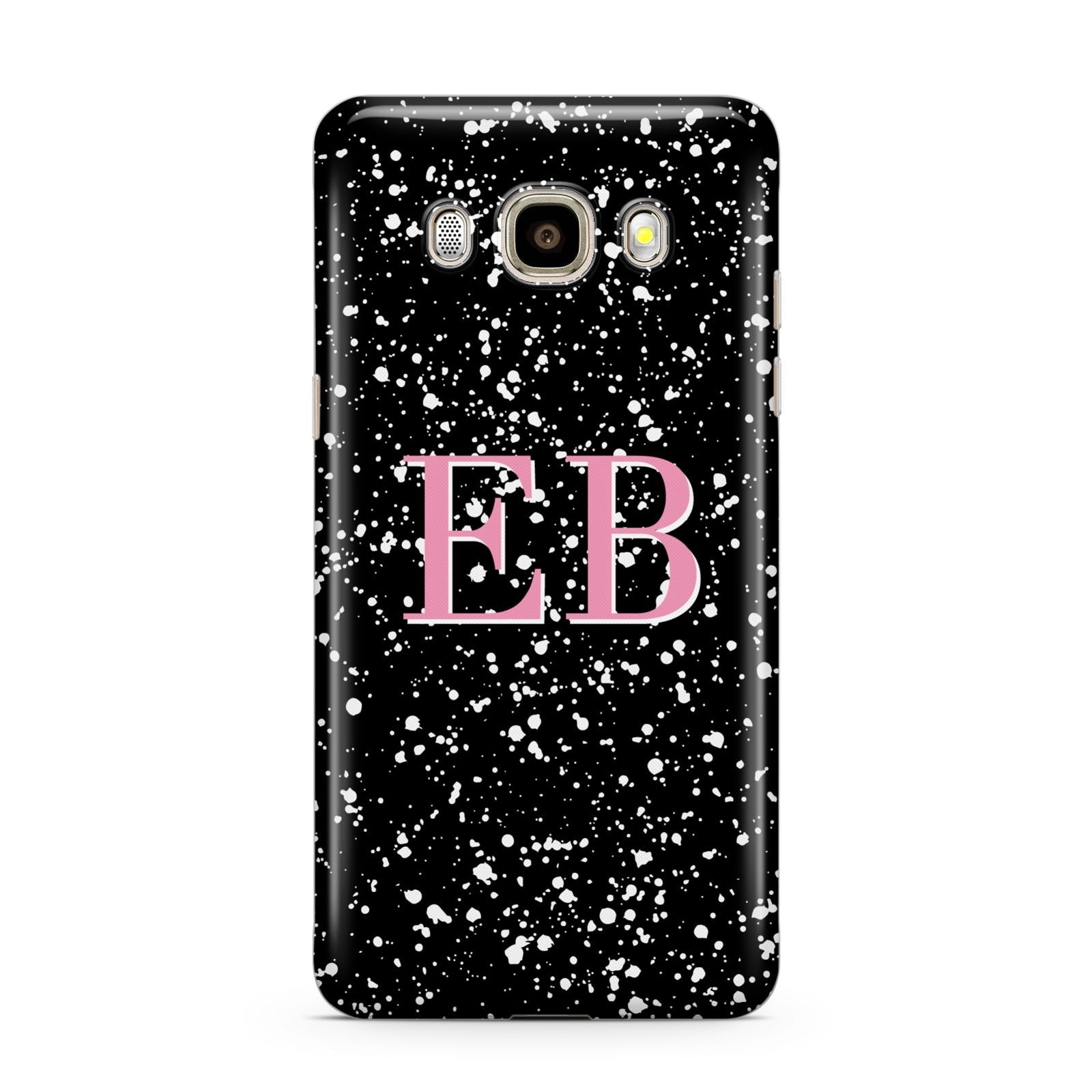 Personalised Black Ink Splat Initials Samsung Galaxy J7 2016 Case on gold phone