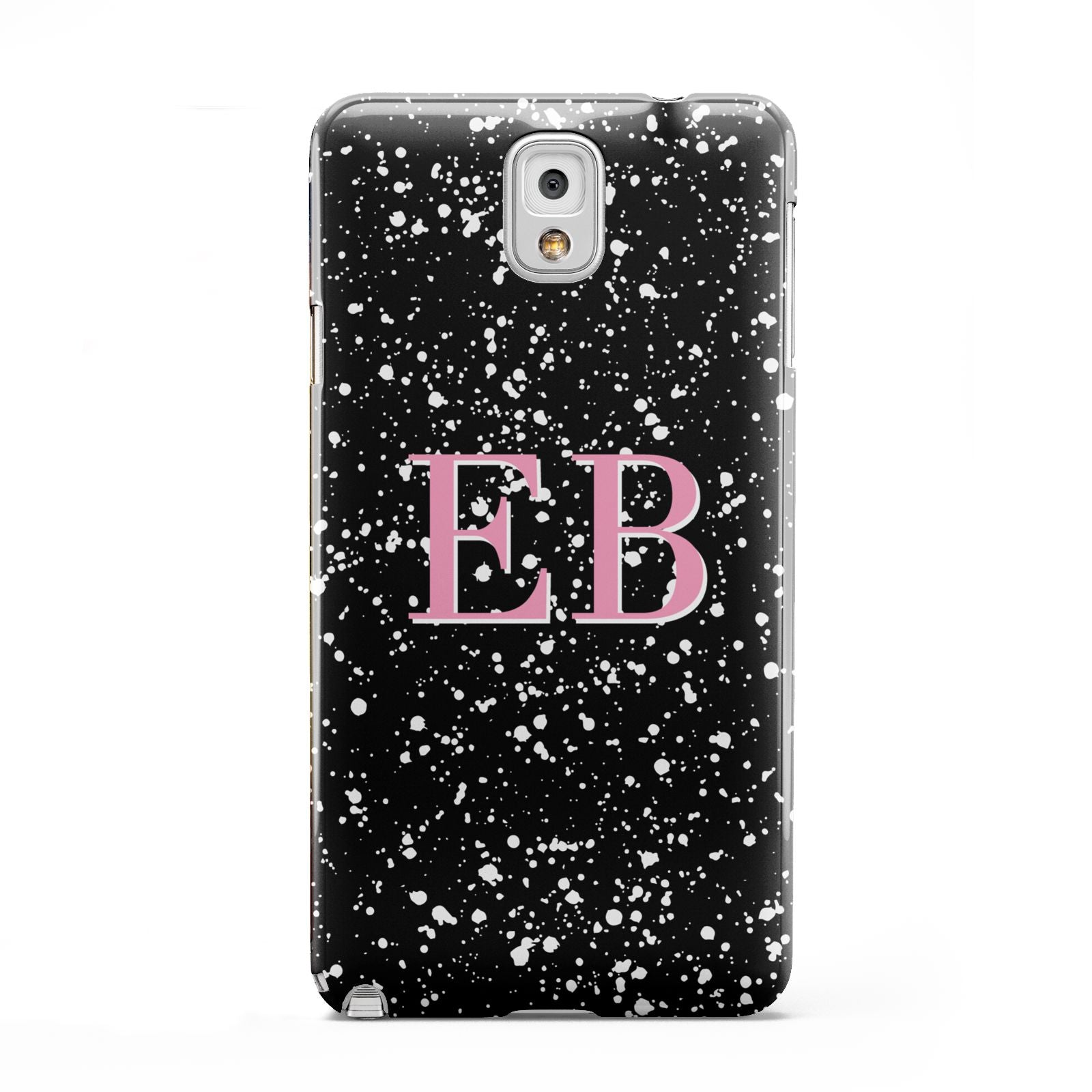 Personalised Black Ink Splat Initials Samsung Galaxy Note 3 Case