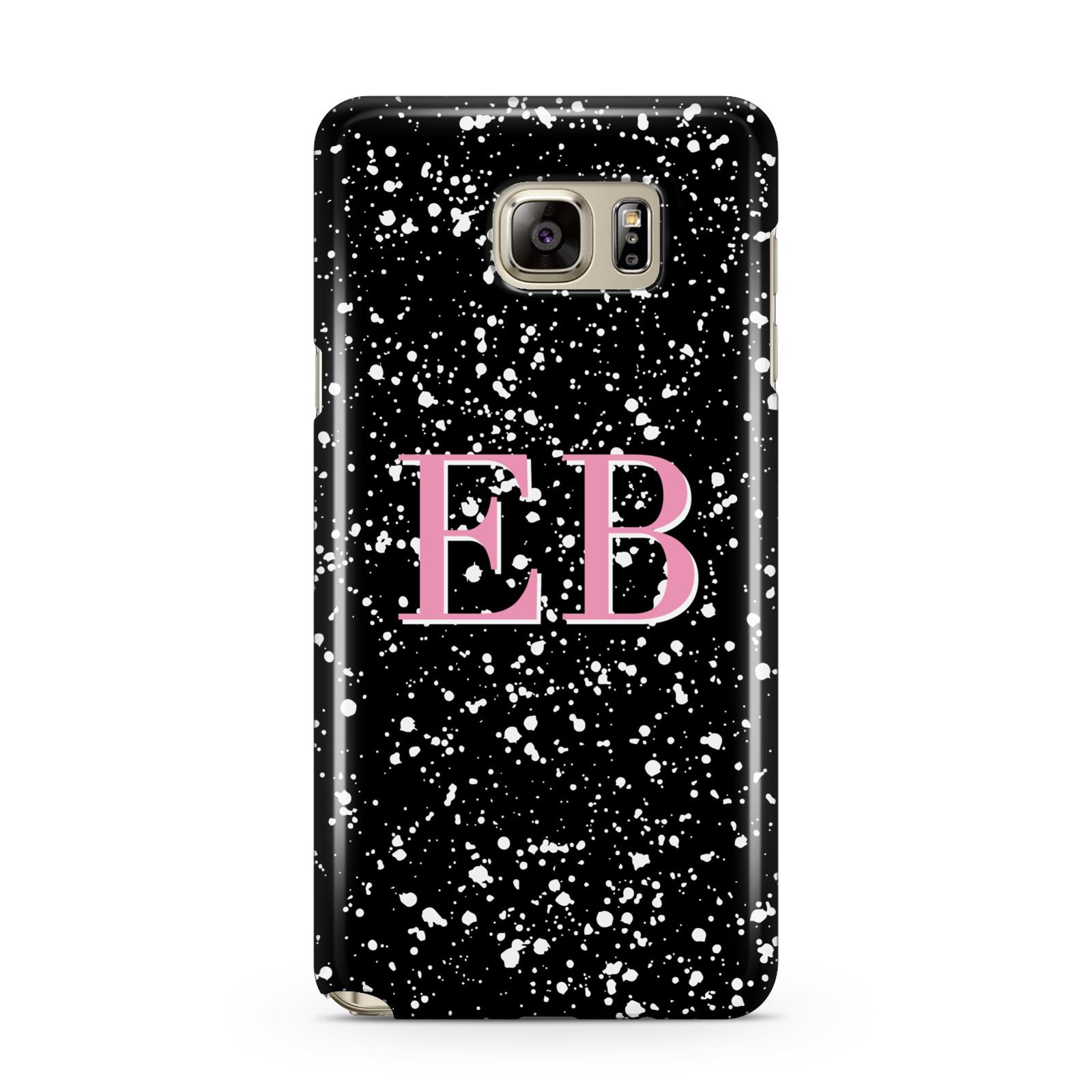 Personalised Black Ink Splat Initials Samsung Galaxy Note 5 Case