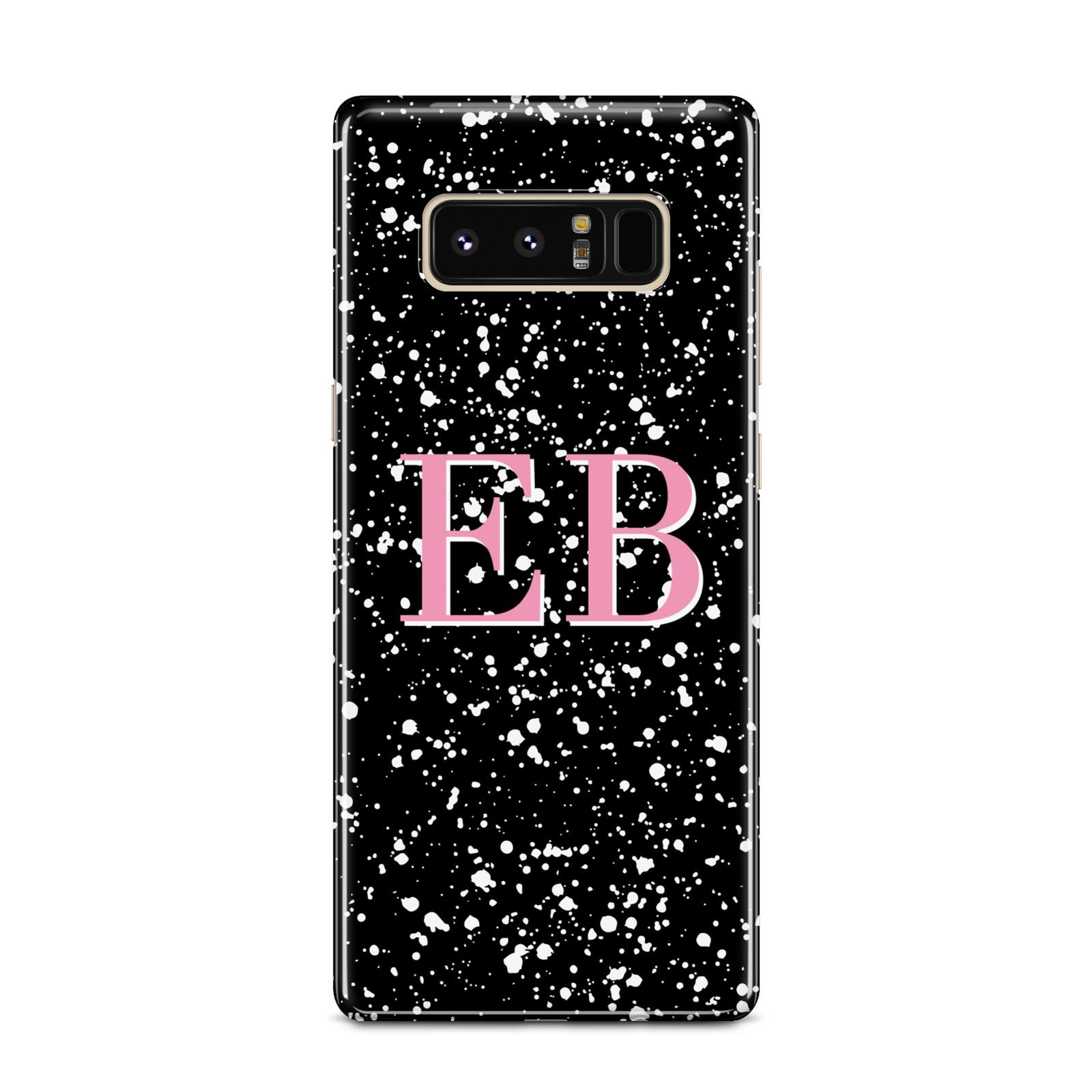 Personalised Black Ink Splat Initials Samsung Galaxy Note 8 Case