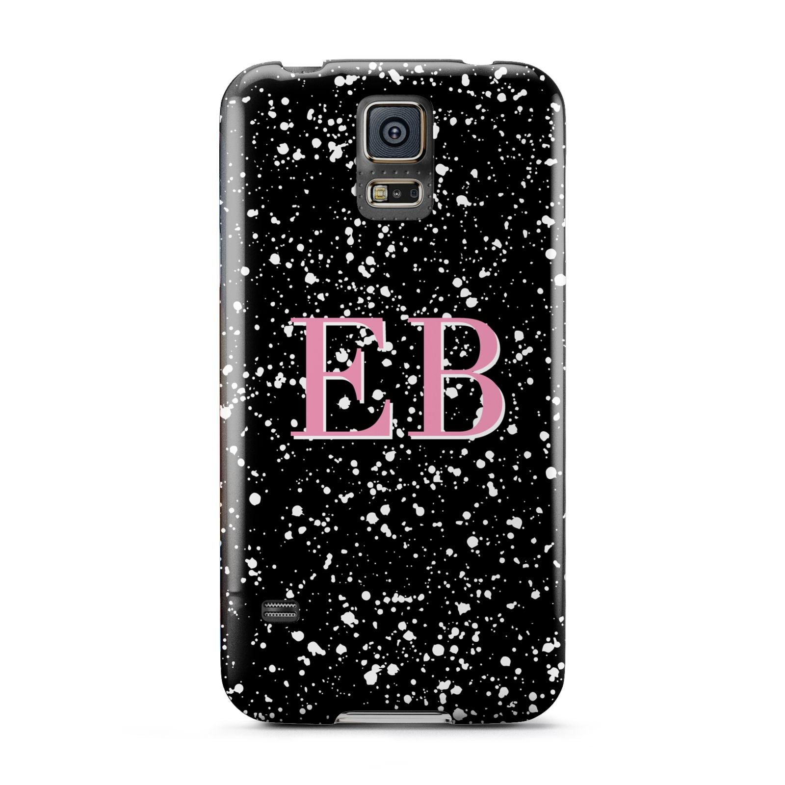 Personalised Black Ink Splat Initials Samsung Galaxy S5 Case