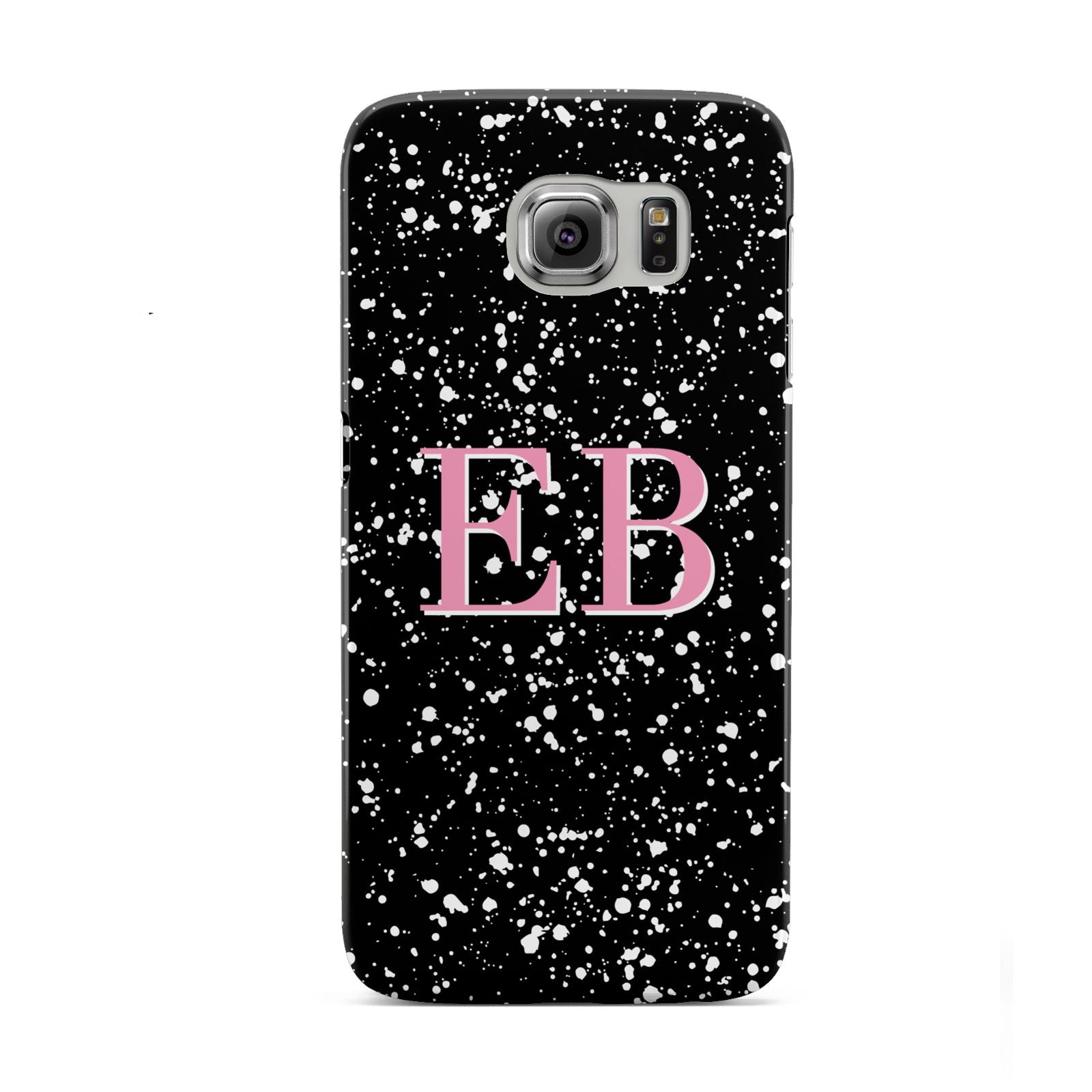 Personalised Black Ink Splat Initials Samsung Galaxy S6 Case