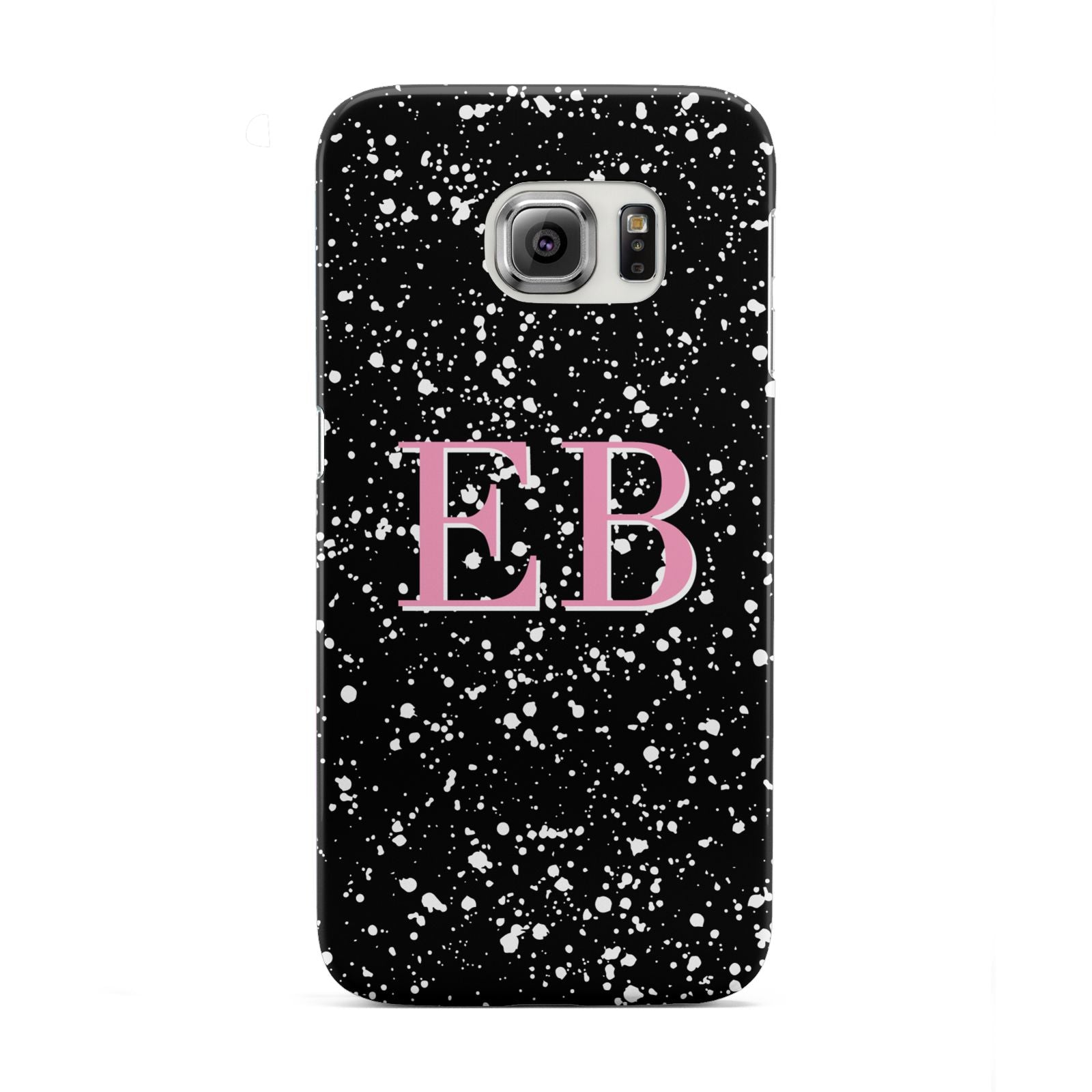 Personalised Black Ink Splat Initials Samsung Galaxy S6 Edge Case