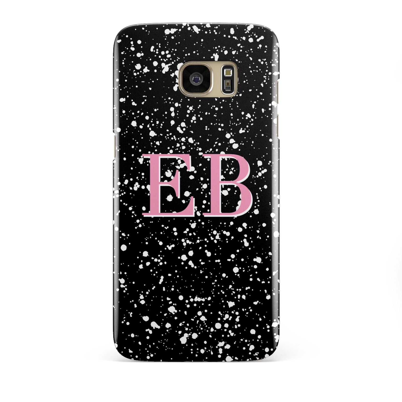 Personalised Black Ink Splat Initials Samsung Galaxy S7 Edge Case