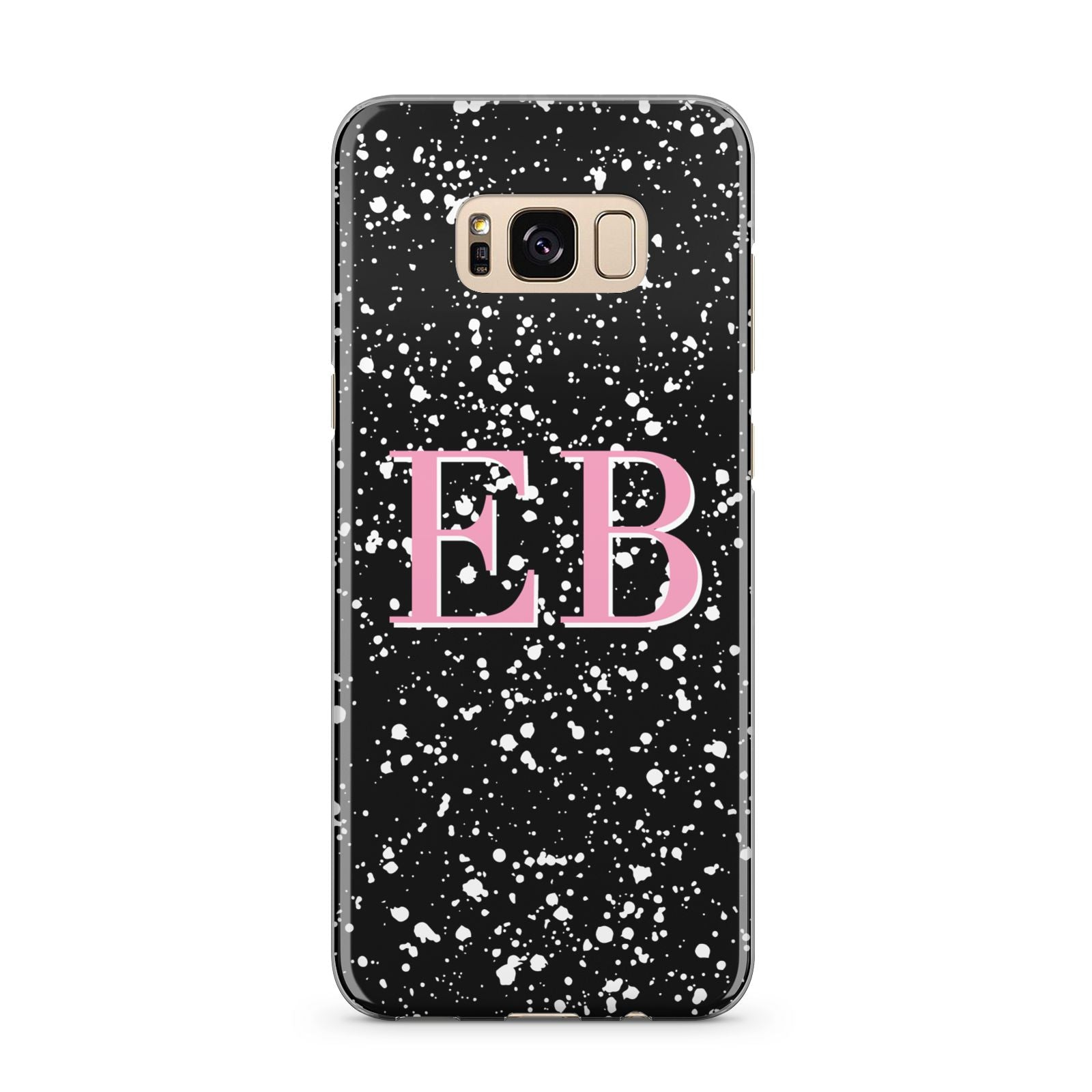 Personalised Black Ink Splat Initials Samsung Galaxy S8 Plus Case