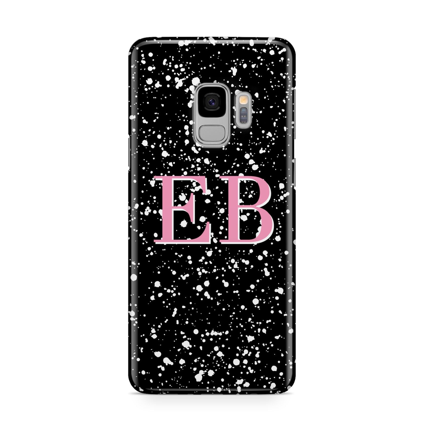 Personalised Black Ink Splat Initials Samsung Galaxy S9 Case