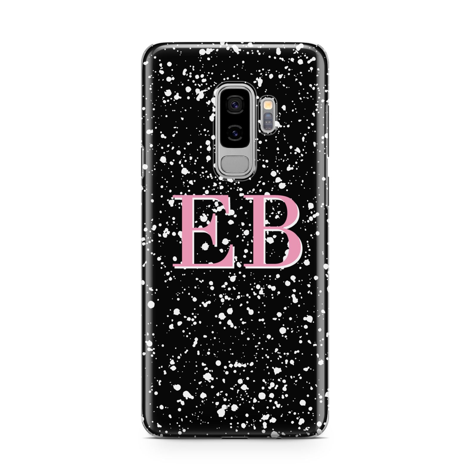 Personalised Black Ink Splat Initials Samsung Galaxy S9 Plus Case on Silver phone