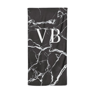 Personalised Black Marble Effect Monogram Beach Towel