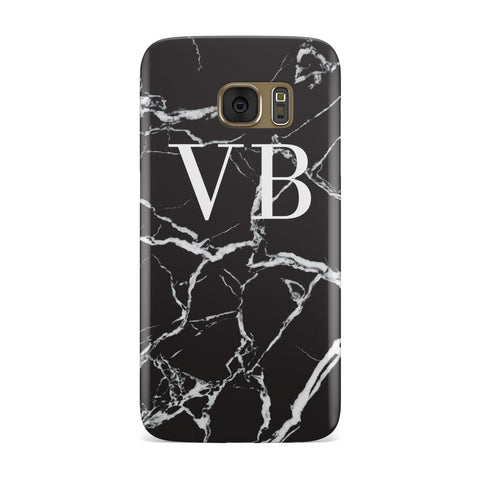 Personalised Black Marble Monogram Samsung Galaxy Case