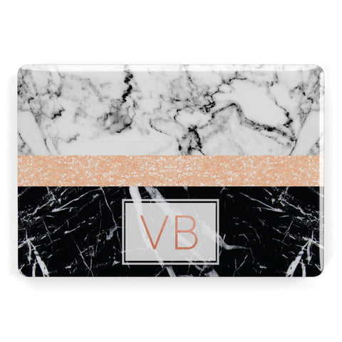 Personalised Black Marble Initials Apple Macbook Case