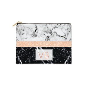 Personalised Black Marble Initials Clutch Bag Zipper Pouch