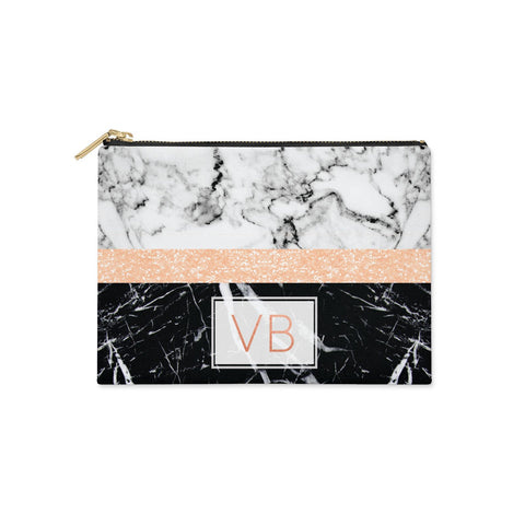 Personalised Black Marble Initials Clutch Bag