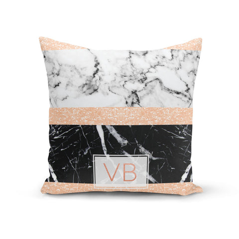 Personalised Black Marble Initials Cushion