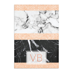 Personalised Black Marble Initials Cotton Tea Towel