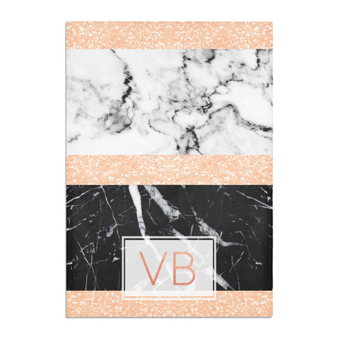 Personalised Black Marble Initials Tea Towel