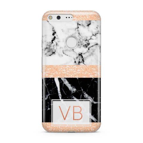 Personalised Block Marble Initials Google Case