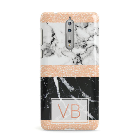 Personalised Black Marble Initials Nokia Case