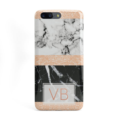 Personalised Black Marble Initials OnePlus Case