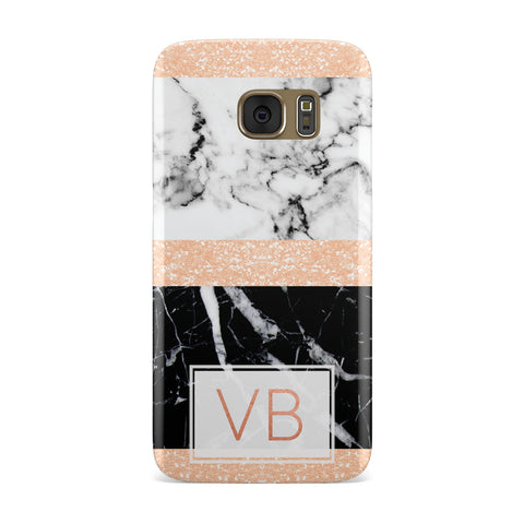 Personalised Block Marble Initials Samsung Galaxy Case