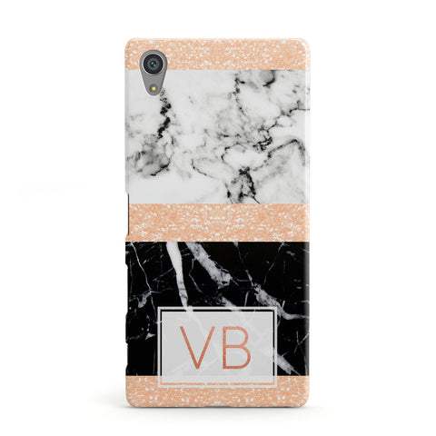 Personalised Block Marble Initials Sony Xperia Case