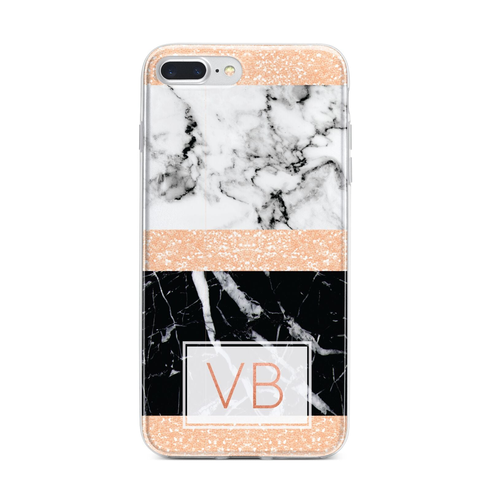 Personalised Black Marble Initials iPhone 7 Plus Bumper Case on Silver iPhone