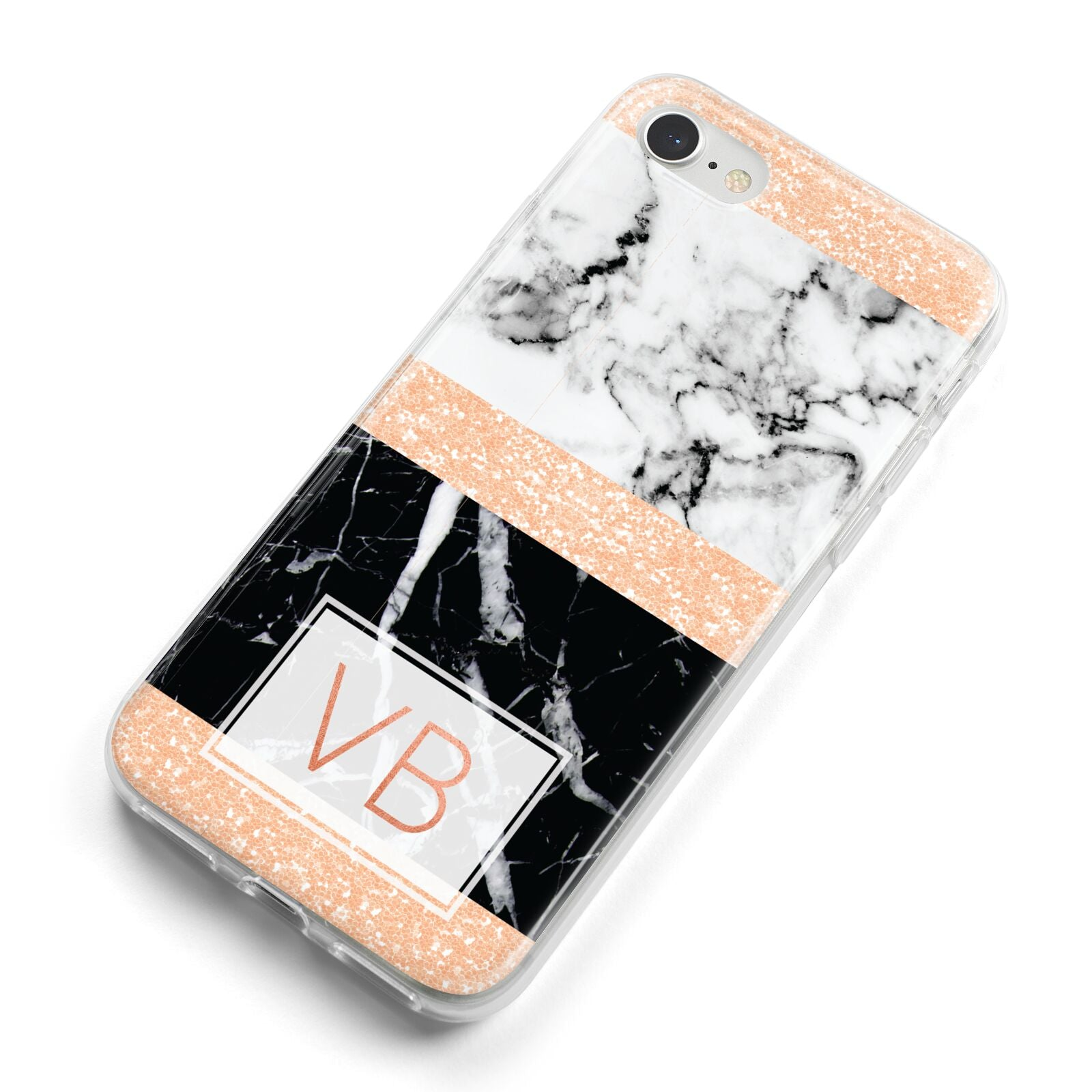 Personalised Black Marble Initials iPhone 8 Bumper Case on Silver iPhone Alternative Image
