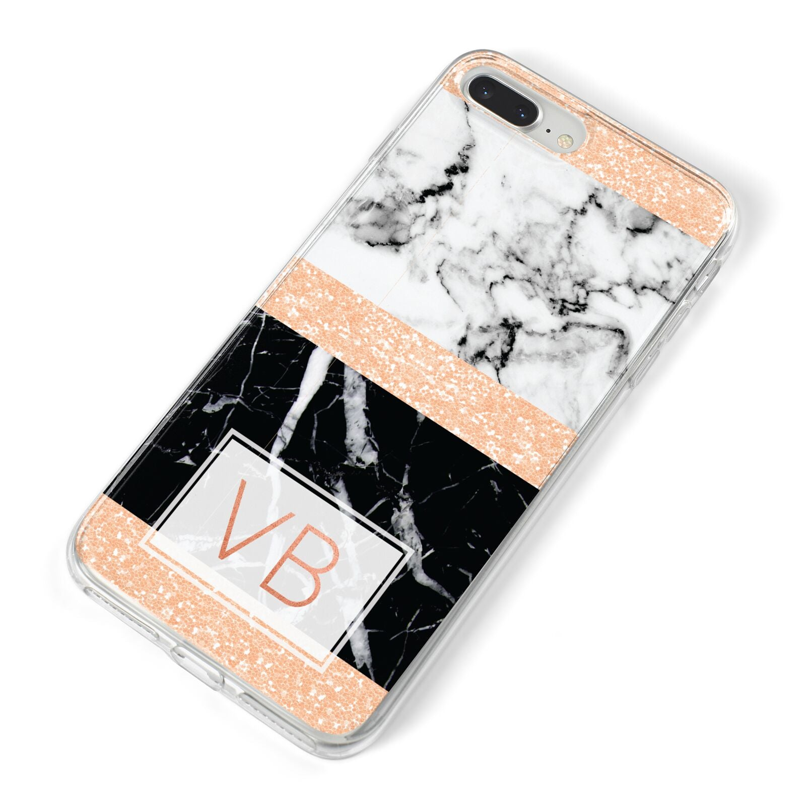 Personalised Black Marble Initials iPhone 8 Plus Bumper Case on Silver iPhone Alternative Image