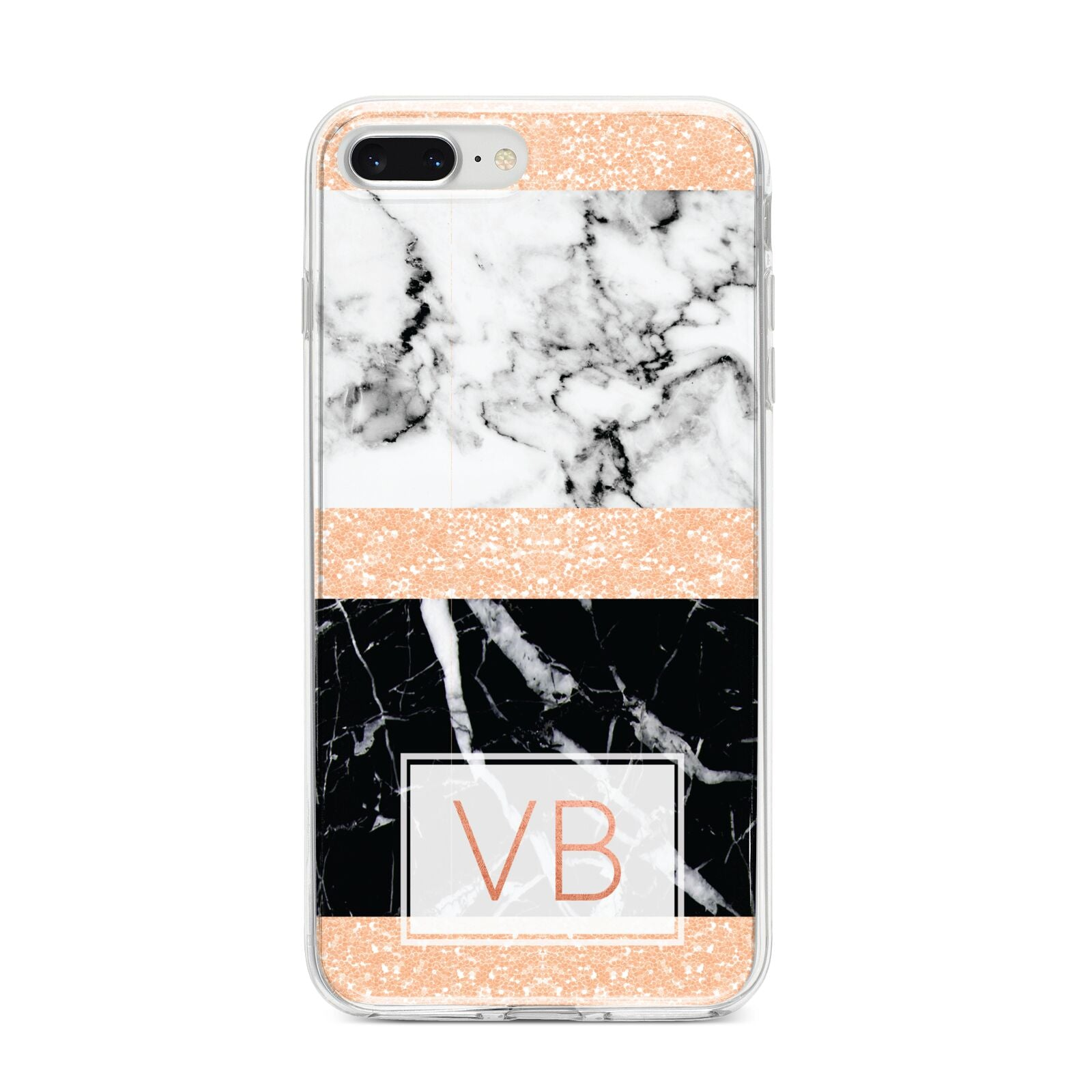 Personalised Black Marble Initials iPhone 8 Plus Bumper Case on Silver iPhone