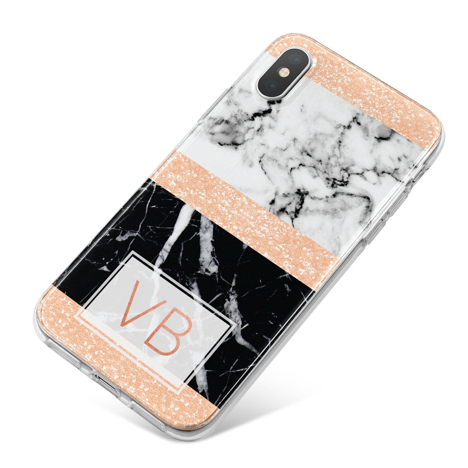 Personalised Black Marble Initials iPhone X Bumper Case on Silver iPhone