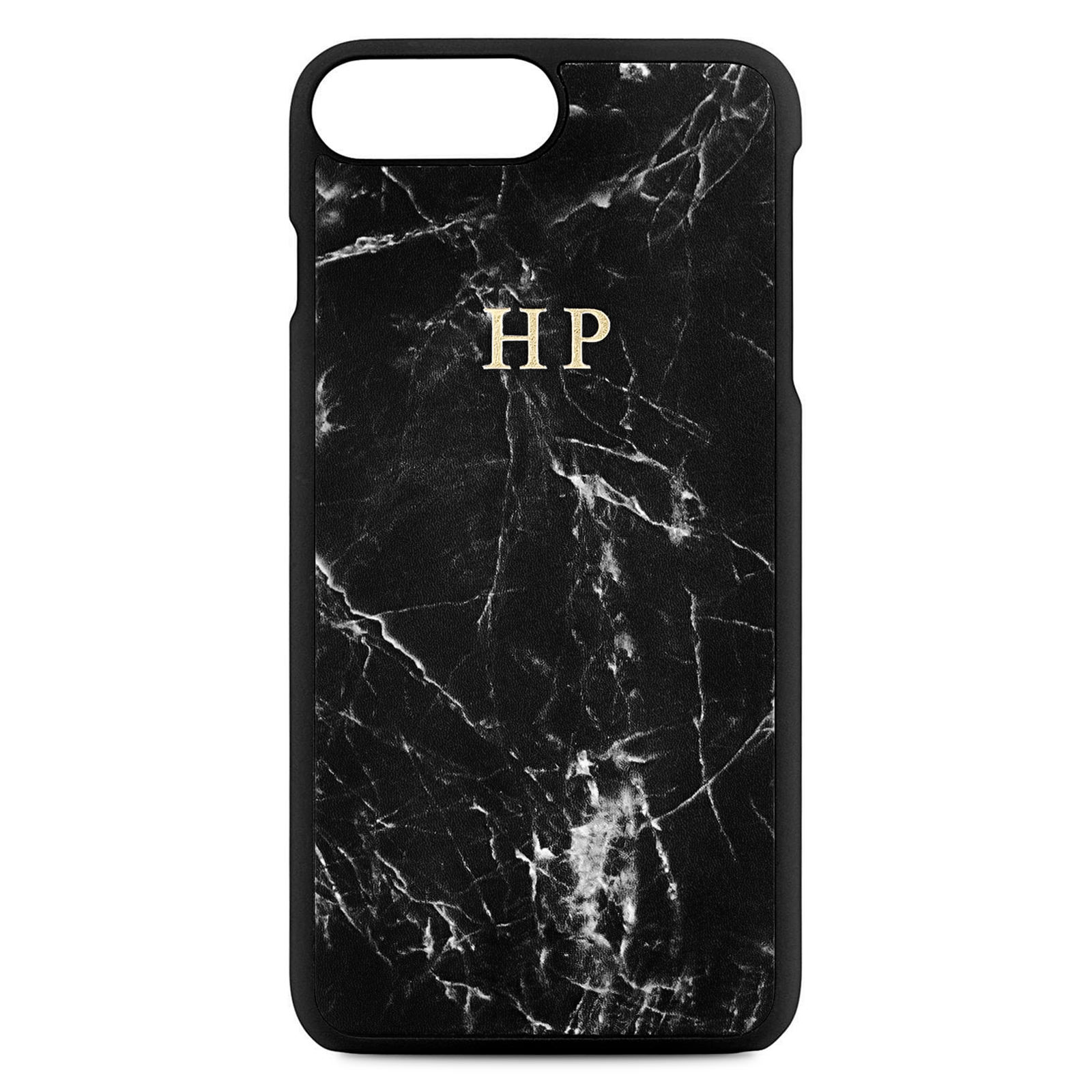 Personalised Black Marble Leather iPhone 8 Plus Case