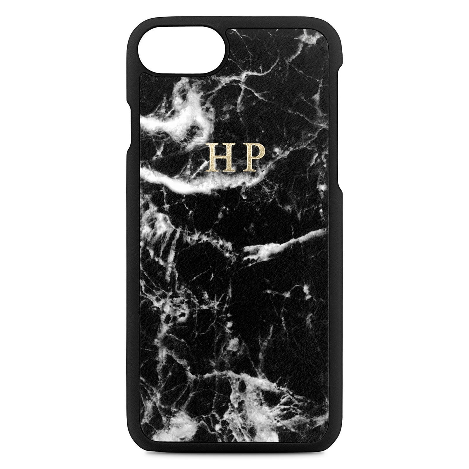Personalised Black Marble Leather iPhone Case