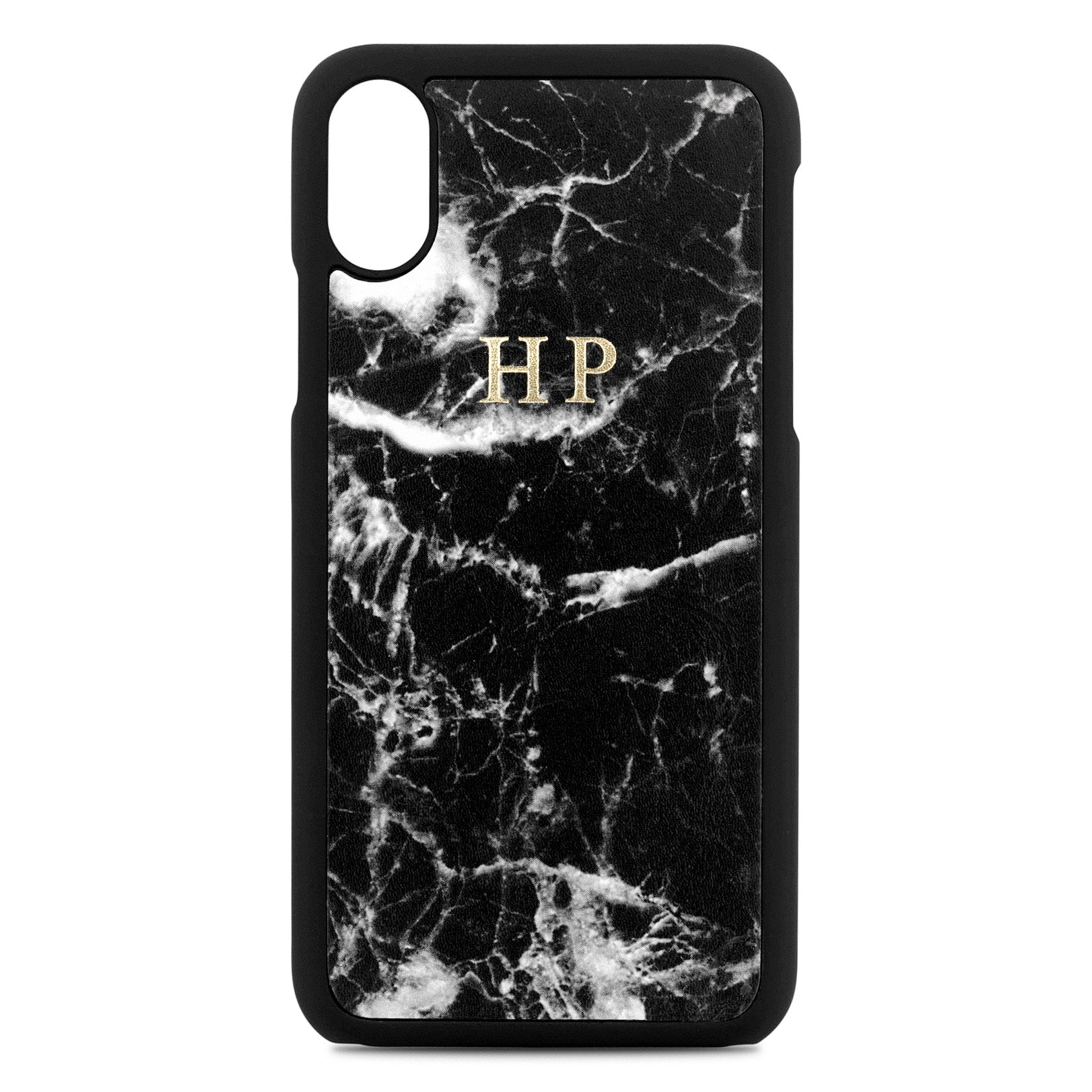 Personalised Black Marble Leather iPhone X Case