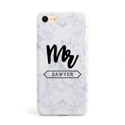 Personalised Black Mr Surname On Marble Apple iPhone Case